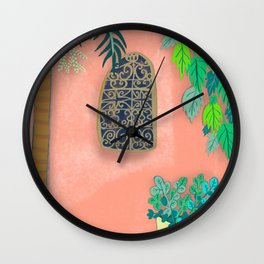 Pink Garden Wall Morocco Wall Clock