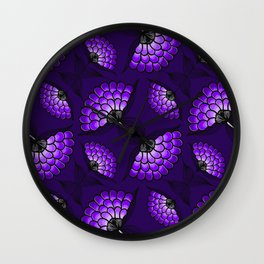 African Art Cloth in Purple Wall Clock