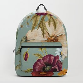 Colorful Wildflower Bouquet on Blue Backpack