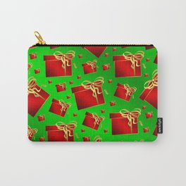 many little red gifts with golden bow on green Carry-All Pouch