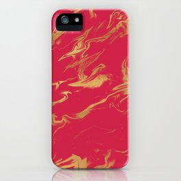 Hot Pink Gold Marble iPhone Case