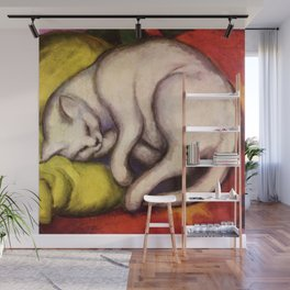 """Franz Marc """"The white cat on the yellow pillow"""" Wall Mural"""