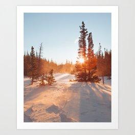 Magical winter sunrise light by Dream Lake Art Print