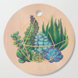 Geometric Terrarium 1 Acrylic on Wood Painting Cutting Board