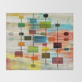 Mid-Century Modern Art 1.3 -  Graffiti Style Throw Blanket