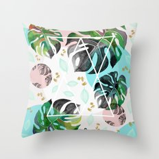 Monstera leaves watercolor Throw Pillow