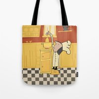 cooking Tote Bags featuring Cooking Cats by Rosha (Roisin Hahessy)
