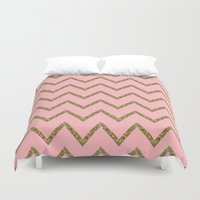 gold glitter Duvet Covers featuring Gold & Pink Glitter Chevron by Stay Inspired