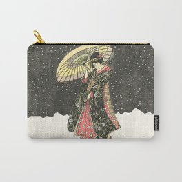 In the snow with an umbrella Carry-All Pouch