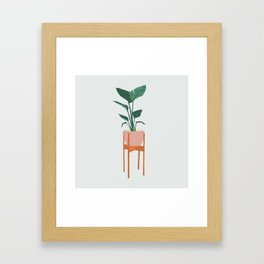 Boho mid century modern house plant and pot stand Framed Art Print
