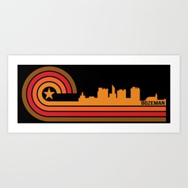 Retro Bozeman Montana Skyline Art Print