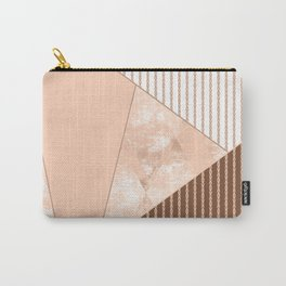 Valencia 2. Abstract Beige, white, brown geometric pattern. Carry-All Pouch