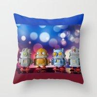 robots Throw Pillows featuring Robots by Pedro Nogueira