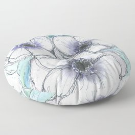 Anemone bouquet illustration watercolor and black ink painting Floor Pillow