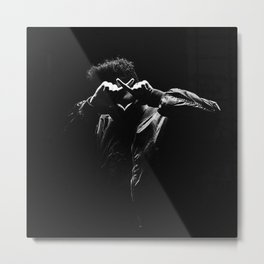 The.Weeknd Portrait black and white Metal Print