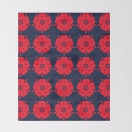 Japanese Samurai flower red pattern Throw Blanket