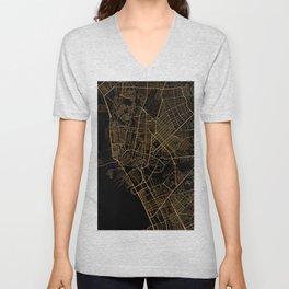 Black and gold Manila map Unisex V-Neck