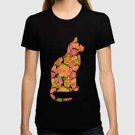 Cat Silhouette With Hibiscus Flowers Inlay T-shirt