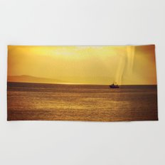 Going Fishing at sunset Beach Towel