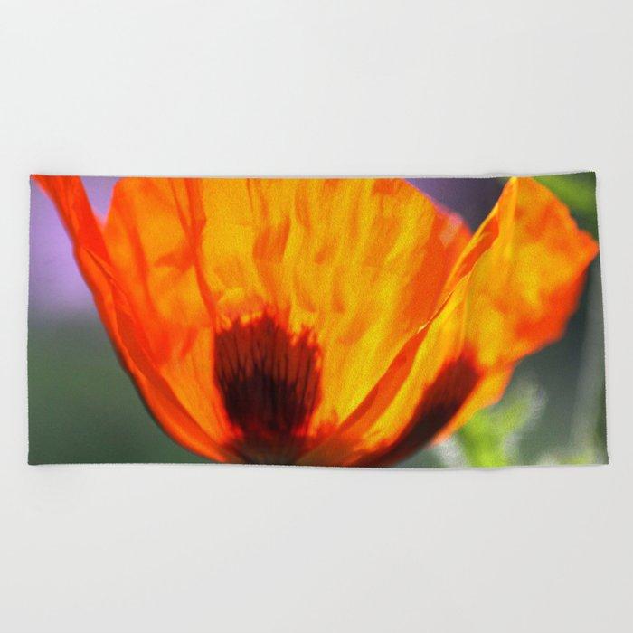 Orange Poppy Flower Beach Towel