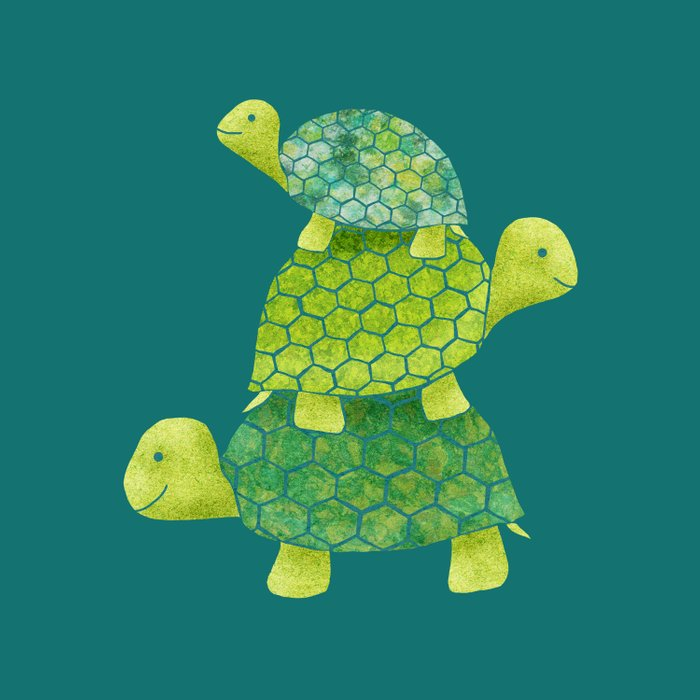Turtle Stack Family in Teal and Lime Green Duvet Cover