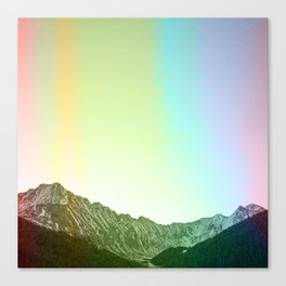 Rainbow Ridge Snow Capped Mountain Range \\ Colorado Landscape Photography \\ B&W Ski Season Art Canvas Print