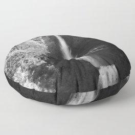 Multnomah Falls Oregon Waterfall Black and White Floor Pillow