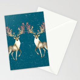 Deers With Birds Teal #society6 #buyart Stationery Cards