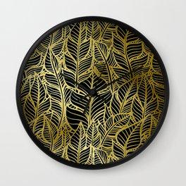 Glamorous and Glitzy Art Deco Gold Leaf Pattern Wall Clock