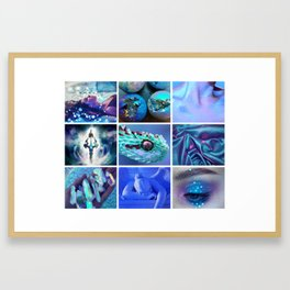 Blue Holographic Mythology Moodboard Framed Art Print