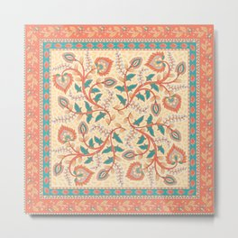 Square decorative design with ornament of flowers and leaves. Metal Print