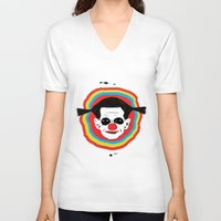 clown V-neck T-shirts featuring CLOWN by julianesc