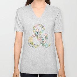 Intricate Floral Ampersand Unisex V-Neck