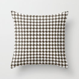 Brown And White Combination Houndstooth Throw Pillow