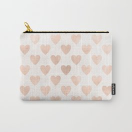 Cute Muted Pink Watercolor Hearts Pattern Carry-All Pouch