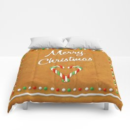 Merry Christmas Gingerbread Biscuit Comforters