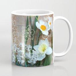 Daffodils Hyacinths Succulent Eucalyptus Spring Flat Lay Coffee Mug
