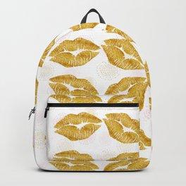 Gold Foil Lips Colorful Polka Dots Backpack