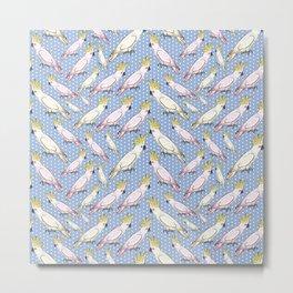 Cockatoo Pattern - Australian Native Birds Metal Print