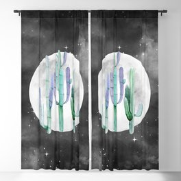 Cactus Nights Full Moon Starry Turquoise by Nature Magick Blackout Curtain