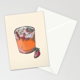 Strawberry chamomile paloma, cocktail, cocktails, beverage Stationery Cards