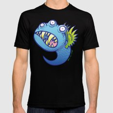 Terrific winged little blue monster Black Mens Fitted Tee MEDIUM