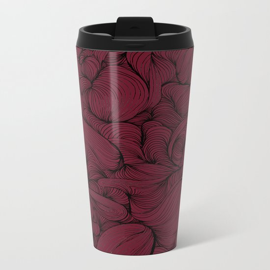 Rose Petal Red Metal Travel Mug
