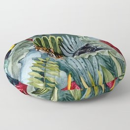 Jungle with tiger and tucan Floor Pillow