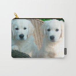 White Golden Retriever Dogs Sitting in Fiber Chair Carry-All Pouch