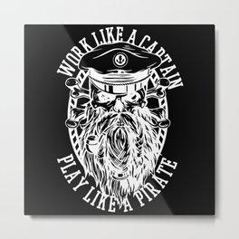 Captain Pirate Sailor Design Metal Print