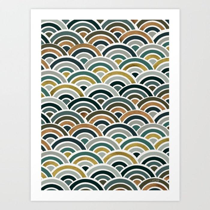 Japanese Seigaiha Wave – Teal & Bronze Palette Art Print