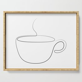 coffee or tea cup - line art Serving Tray