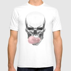 Skull chewing bubblegum Mens Fitted Tee MEDIUM White