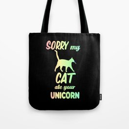 Sorry My Cat Ate Your Unicorn Funny kitten Tote Bag